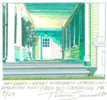 Art Doors- Henry Wadsworth Longfellow- American Poet (1807-82) Cambridge, MA, 2003; Screen print; Image: 6 1/4 x 5 inches