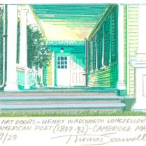 Art Doors- Henry Wadsworth Longfellow- American Poet (1807-82) Cambridge, MA, 2003; Screen print; Image: 6 1/4 x 5 inches