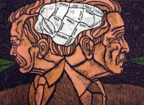 Conjoined, 2007; Woodcut; Image: 16 x 22 inches