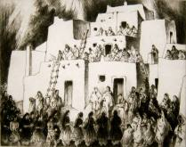 Corn Dancers Coming, 1975; Etching; Image: 14 1/2 x 18 1/2 inches