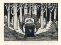Deep Woods Viewing, 1988; Engraving on plexiglass; Image: 7 1/2 x 11 inches
