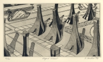 Elegant Suburb, 1979; Engraving on plexiglass; Image: 9 3/4 x 14 inches