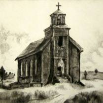 Forsaken Church on the Edge of the Great Plains, 1979; Etching, drypoint; Image: 13 1/4 x 21 1/4 inches