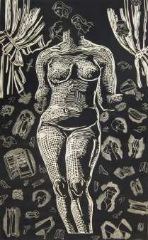 Girl Germs, 1995; Linocut; Image: 62 1/2 x 38 inches