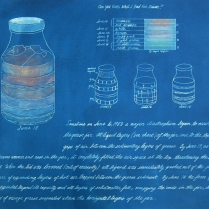 Grease Jar, 1984; Cyanotype, colored pencil; Image: 22 x 30 inches