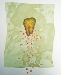Hair, Heart and Roses, 1982; Engraving, lithograph; Image: 18 x 369 mm