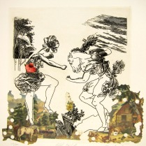 Hill Fight, 1996; Etching, collage; Image: 17 3/4 x 15 inches
