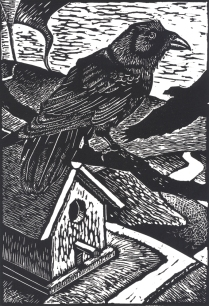 In The Waiting, 2009; Linocut; Image: 15 x 9 inches