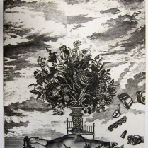 Juggle Girl, 1996; Etching; Image: 23 1/2 x 19 inches