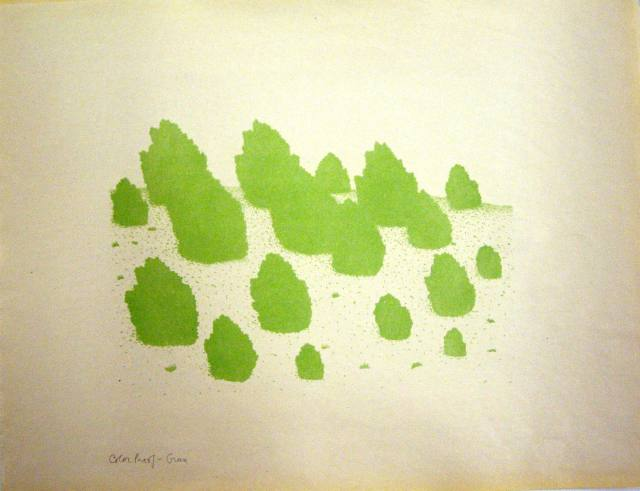 Juniper Tree Landscape - green proof, 2009, lithograph, 13x 16 inches