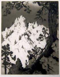 Late Sunlight on the Cliffs, 1941; Etching; Image: 16 1/4 x 12 3/4 inches
