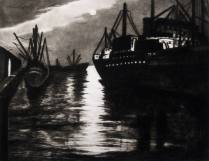 San Francisco Waterfront, 1983; Etching, drypoint, aquatint; Image: 15 x 18 1/2 inches