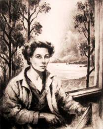 Self Portrait and the Golden Gate, 1951; Drypoint; Image 17 x 13 1/4 inches