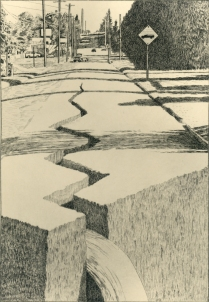 Skyway Changes, 1995; Engraving on plexiglass; Image: 15 3/4 x 12 1/2 inches