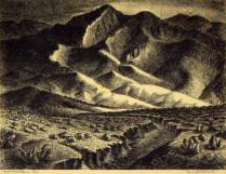 Taos Mountains, 1944; Lithograph; Image: 5 x 7 inches
