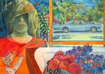 The Anthropologist, 1977; Emulsion monotype, colored pencil; Image: 22 x 30 inches