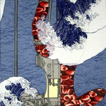 Tsunami, 2009; Screen print, collage; Image: 35 x 23 inches