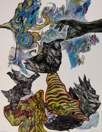 Controlled Fire, 2012; Digital transfer, marbling, chine colle; Image: 29 x 22 inches
