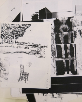 A sample of the 40 or more printouts and copies used in generating imagery for Cunningham's lithograph, Rauschenberg vs. Van Gogh: Who Can Build a Better Chair?, 1998.