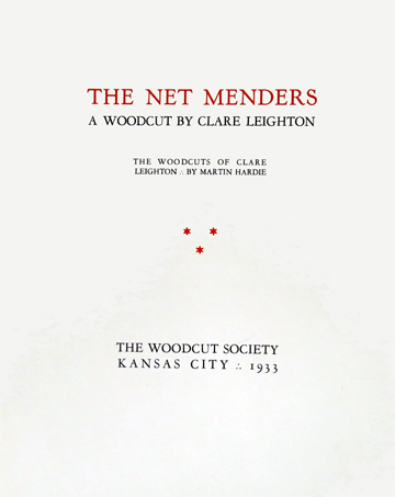 Cover of the presentation folder for Clare Leighton's wood engraving, The Net Menders, 1933.