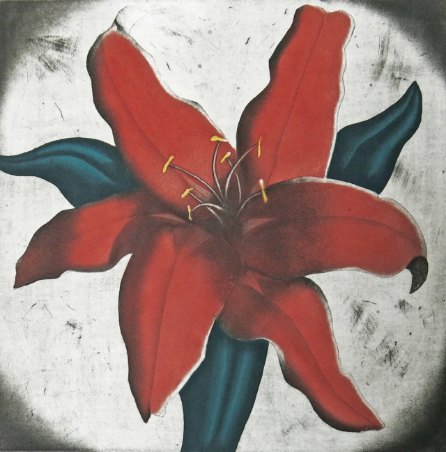 Ron Fundingsland Red Lily Intaglio (17.5 x 17.5 inches)