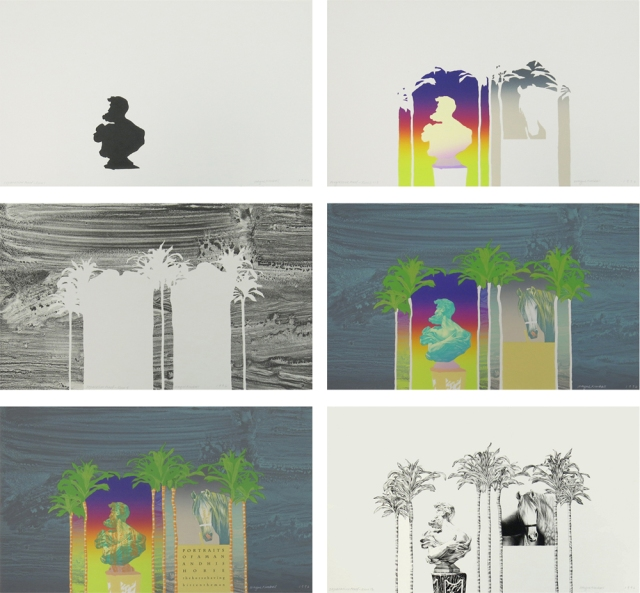 Six of 33 proofs for the print below. Lithographs (each 9 1/8 x 15 inches)