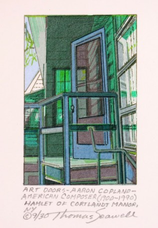 Art Doors - Aaron Copland - American composer (1900-1990) Hamlet of Cortlandt Manor, NY, 2007; screen print; 3 1/3 x 2 1/4 inches
