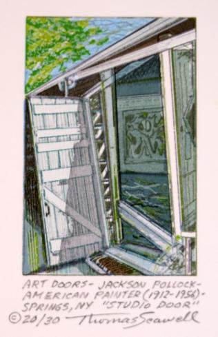 Art Doors - Jackson Pollock - American Painter - (1912-1956) Springs, NY, Studio Door, 2007; screen print; 3 1/3 x 2 1/4 inches