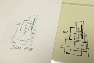 "The line drawing transparency and the printed result for ""Art Door: Aaron Copland..."""