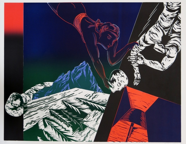 Frances Myers (born 1938) Rescue, 1985 Woodcut 27 1/2 x 35 inches