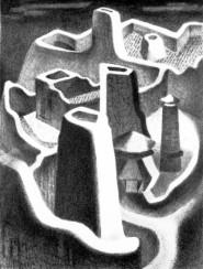 Bess Bigham Hubbard (1896-1977); Adobe Rhythms, 1952; Lithograph; 13 1/2 x 10 inches