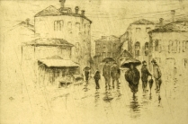 Bertha Jaques (1863-1941); April Shower, Venice, 1914; Etching; Image: 5 1/4 x 7 7/8 in.