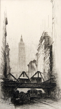George T. Plowman (1869-1932); Cityscape, ca. 1920; Etching; Image: 7 x 4 in.