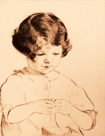 Elizabeth Telling (1882-1979); Patty Stringing Beads, 1927; Drypoint; Image: 7 x 5 3/4 in.