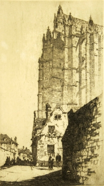 Samuel Chamberlain, (1895-1975); The Buttresses of Beauvais Cathedral, early 20th c.; Etching; Image: 8 3/4 x 4 7/8 in.