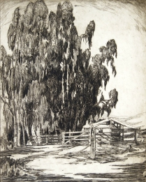 Alice Glasier (later known as Gene Kloss) (1903-1996); The Deserted Farm, 1924; Etching; Image: 10 x 8 in.