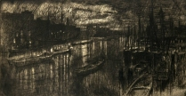 Joseph Pennell (1860-1926); Thames Below the Bridges, Night, 1894; Etching; Image: 4 7/8 x 9 1/2 in.