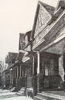 11th Street, Row of Houses, 1996; Relief; Image: 36x24 inches