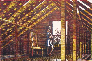 Attic Lookout, 1993; Woodcut; Image: 24 1/2 x 36 inches