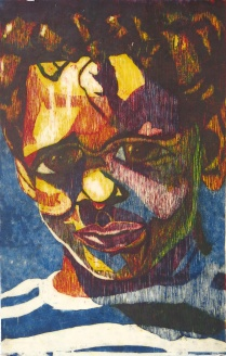 Barret in Three Color, 1992; Woodcut; Image: 36 x 24 inches