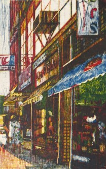 Shops on Eighth St., 1992; Relief; Image: 38 1/2x24 inches
