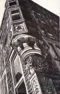 Of the Old Financial District, 1999; Woodcut; Image: 36 x 24 inches