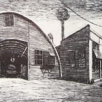 Off Industrial Av, 2004; Woodcut; Image: 24 x 36 inches