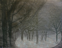 The Watchman, 2010; Laser engraved wood relief printed on handmade paper; Image: 11 x 15 inches