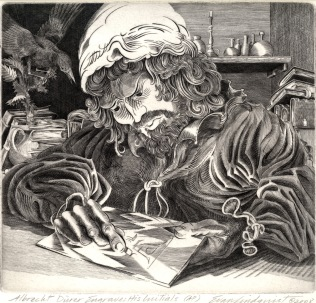 Evan Lindquist (born 1936); Albrecht Durer Engraves His Initials, 2008; Engraving; Image: 8 1/4 x 8 3/4 inches