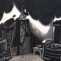 Wanda Gag (1893-1946); Interior of a Room, 1928; Wood engraving; Image: 6 x 5 3/4 inches