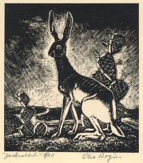 Otis Dozier (1904-1987); Jack Rabbit, nd; Wood engraving; Image: 3 3/4 x 3 1/2 inches