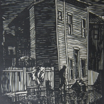 Norman Kent (1903-1972); Queer House, 1951; Wood engraving; Image: 8 x 6 inches