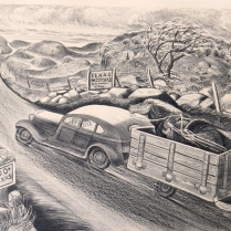 Texas Highway, date unknown; Lithograph; Image: 10 x 14 inches