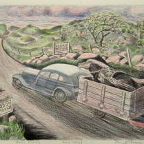 Texas Highway, date unknown; Lithograph, colored graphite; Image: 10 x 14 inches
